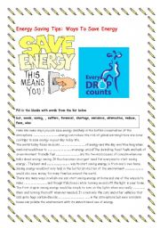 What shoul I do to save energy? - ESL worksheet by laia3