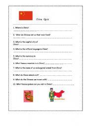 English worksheet:  China Quiz