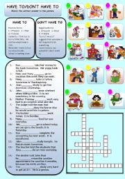 English Worksheet: MODAL VERBS HAVE TO/DON�T HAVE TO