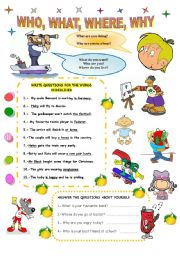 English Worksheets: QUESTIONS: WHO, WHERE, WHAT, WHY