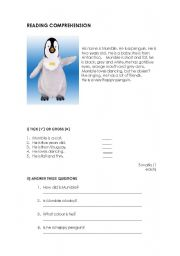 English worksheet: Reading comprehension and exercises