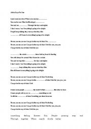 English Worksheets: Alicia Keys/No One Song Worksheet