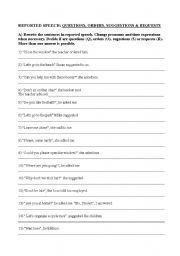 English Worksheets: Reported Speech (questions, orders, requests & suggestions)