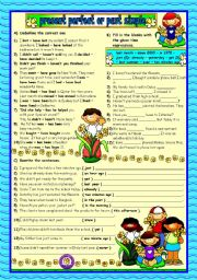 English Worksheet: Present Perfect or Past Simple - 2 (b&w+key included)
