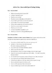 Speed dating worksheets
