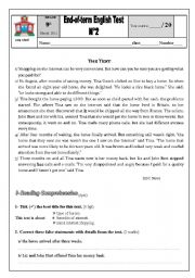English Worksheet: 9th form End of term test n 2