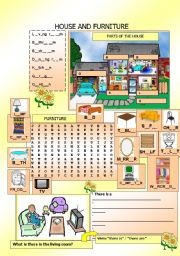 English Worksheet: House and Furniture
