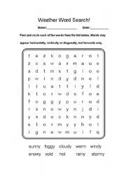 English Worksheet: Weather Word Search!
