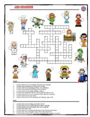 English Worksheets: Jobs Crossword with key