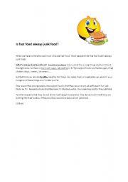 English Worksheet: is fast food always junk food