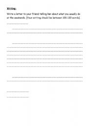 English Worksheets: writing test