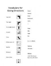 vocab for giving directions esl worksheet by. Black Bedroom Furniture Sets. Home Design Ideas