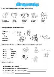 English Worksheets: _Animals_ exercises