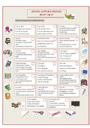 English Worksheet: School Supplies Riddles (What Am I?)