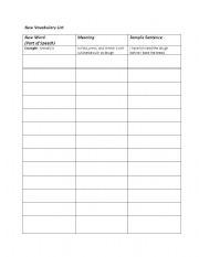 Printables Blank Vocabulary Worksheet blank vocabulary worksheets davezan davezan