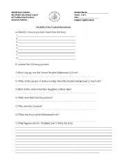 English Worksheets: Islamic studies