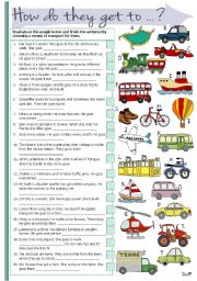 English Worksheet: How do they get to ...?