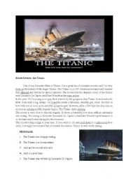 English Worksheets: reading compehension titanic