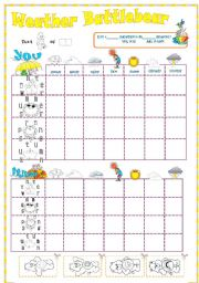 English Worksheets: Weather and seasons battleship