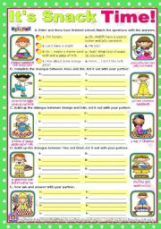 English Worksheet: Snack Time  -   short, easy dialogues