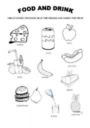 Healthy Foods For Kids Coloring Pages Vocabulary worksheets ...