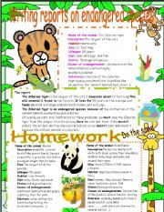 English Worksheet: Writing reports on endangered species