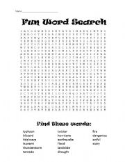 English Worksheet: Weather/Natural Disaster Word Search