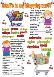 English Worksheets: in my shopping cart