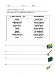 English Worksheet: Cleaning Products and Tools