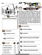 English Worksheet: RC Series_World Wonders Edition_08 Taj Mahal (Fully Editable)