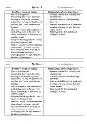 English Worksheets: age or