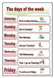 The days of the week - worksheet by sasuna
