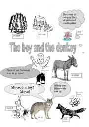English Worksheets: The boy and the donkey