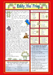 English Worksheets: Eddy, the Frog (KEY included)