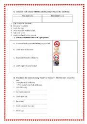 English Worksheet: Obligation / Prohibition