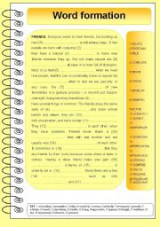 English Worksheets: Word formation - friends