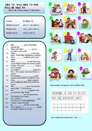 English Worksheet: MODAL VERBS, ABLE TO, WILL BE ABLE TO AND WAS ABLE TO