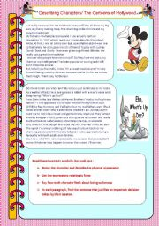 English Worksheet: Describing Hollywood Cartoons