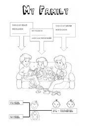 worksheet: My family - Kindergarten level