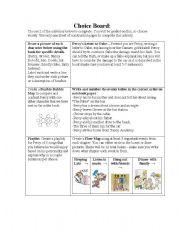 English Worksheets: Choice Board: The Lightning Thief