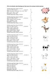 English Worksheet: old macdonald and animals
