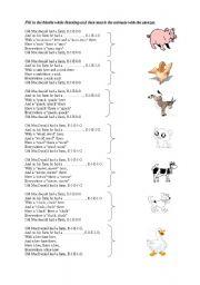 English Worksheets: old macdonald and animals