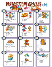 English Worksheets: PREPOSITIONS OF PLACE WITH THE SMURFS AND GARFIELD