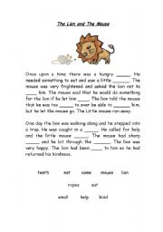 english worksheet fable the mouse and the lion. Black Bedroom Furniture Sets. Home Design Ideas