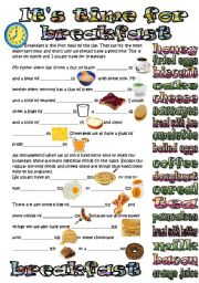 English Worksheet: time for breakfast