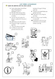 English Worksheet: Vocabulary and Reading: At the airport.