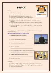 English Worksheets: Megaupload listening activity