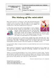 English Worksheet: Test  abou Fashion-the history of the miniskirt