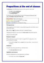 English worksheet: Prepositions at the end of clauses