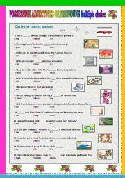 English Worksheet: Possessive adjectives or pronouns Multiple choice
